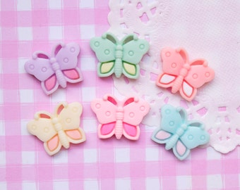 6 x Colourful Butterfly Flat Back Cabochons Kitsch Decoden Kawaii