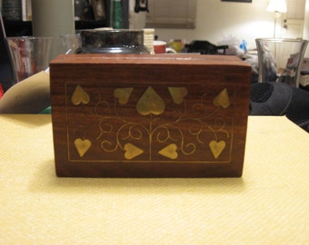 Handmade wooden box with brass hearts inlay