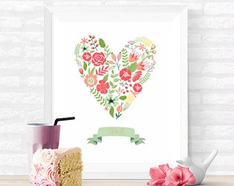 Floral Heart and Initials INSTANT DOWNLOAD 8x10 Custom Printable