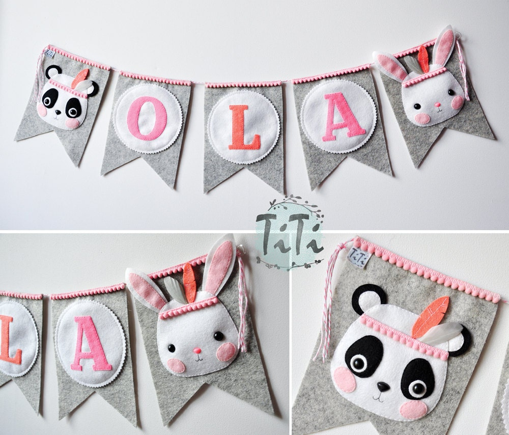 Banners For Bedrooms: Personalized Felt Baby Pennant Banner Name Custom Boho Decor