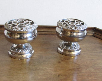 Pair of silver plated posy holders