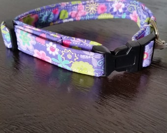 Pet, Dog, Cat Collar in Lavender and flowers print