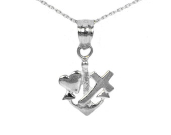 14k White Gold Faith Hope Love Necklace