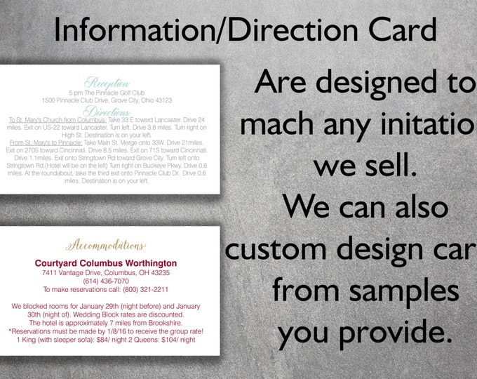Affordable Wedding Info Card Add-on - Cheap Wedding Info Card ,Unique, Custom, Simple, DIY, Classic, Direction Card