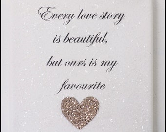 Diamond Effect Love Story Canvas with Swarovski Crystal Elements Heart