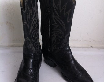 Black men's boots real leather shabby leather, with embroidery vintage style western boots cowboy boots old boots retro boots men's size-9.