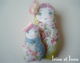 romantic and poetic fabric Russian dolls hand made