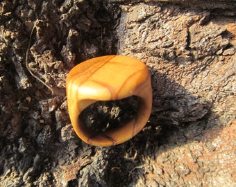 Handmade olive wood ring