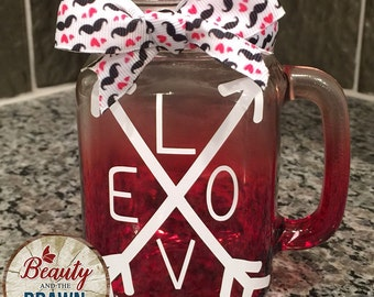 LOVE with Double Arrows Red Mason Jar