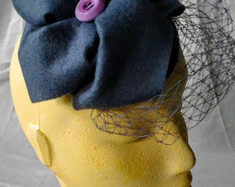 Fascinator: Charlotte purple and grey Fascinator with birdcage veil