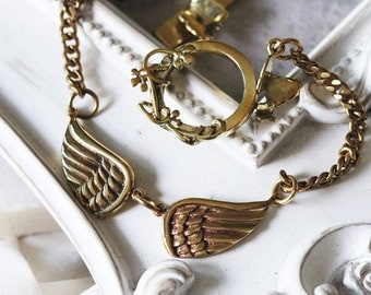 Double Wings Bracelet / Linen Jewelry / Wings Bracelet / Wings