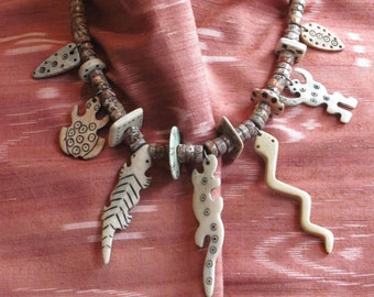 Carved Bone and Agate Desert Creature Necklace
