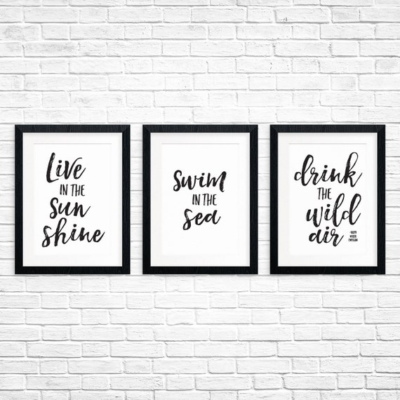 Printable Art, Live in the Sunshine Swim in the Sea Drink the Wild Air, Ralph Waldo Emerson, Poetry, Typography Art, Quote Printables