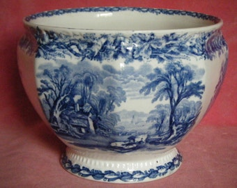Antique c.1910 Booths Staffordshire British Scenery Blue and White Transferware Jardiniere