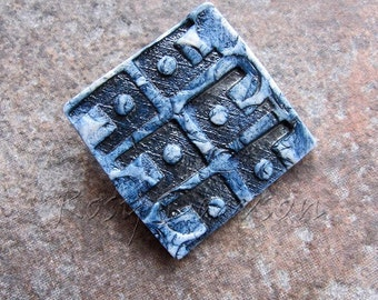 Porcelain brooch, ceramic brooch, blue brooch, dark blue brooch, textured brooch