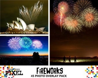 FIREWORKS PHOTOSHOP OVERLAYS, Photoshop Overlay, Fireworks Overlay, Photography Pack, Night, Wedding , New Years, Celebration, Colorful