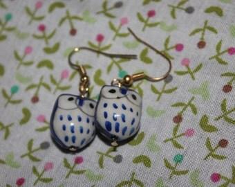 Blue Adventurous Owl Earrings