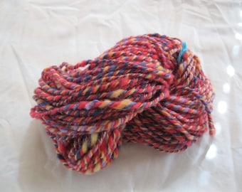 Handspun, variegated, 100% wool yarn, 2 ply