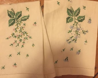 Vintage Cross- Stitch Hand Towels
