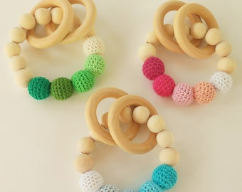 Bebe-sonajero - Wooden wood teether teether for babies - Baby Rattle-Teething toys-necklace of dentition-gifts for Bebe-baby gifts