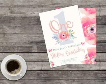 Watercolour Floral 1st Birthday Invite, Cute 1st Birthday Invite, Baby Girl Invite, Floral Invite, Vintage Floral Invite, First Birthday