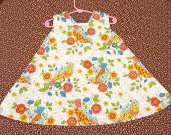 OOAK Criss Cross Pinafore baby, toddler dress, reversible, vintage, birds