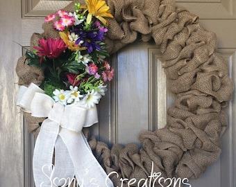 Spring burlap wreath, flower wreath, burlap wreath,