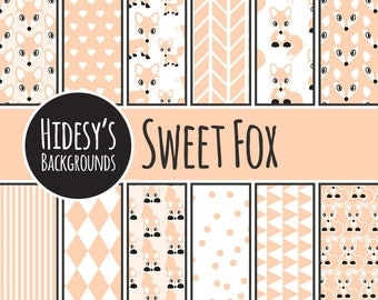 Fox Digital Scrapbooking Paper // Foxy Digital Pattern // Cute Fox Orange and White Digital Paper // SWEET FOX