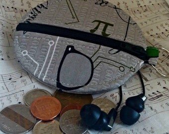 Math Nerd Earbuds Holder - Geek Coin Purse - Science - Key Ring - Detachable - Small Gift - Fully Lined - OOAK - Custom Made