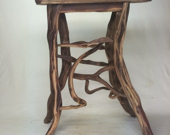 table 5, handmade rustic manzanita wood entry, accent or side table