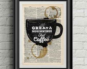 Vintage coffee dictionary print