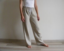 Womens Linen Lounge Pants / Pajamas pants / Yoga pants / Pyjamahose / Sleepwear / Homewear / 睡眠パンツ