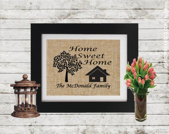 Home Sweet Home Burlap Sign - Family Name - Personalized Gifts - New Home Gift - Housewarming Gift - Wedding Gift - Our first home sign
