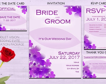 Violet Vision Wedding Invitation Evite Package INSTANT DOWNLOAD (Please read important info in the description)