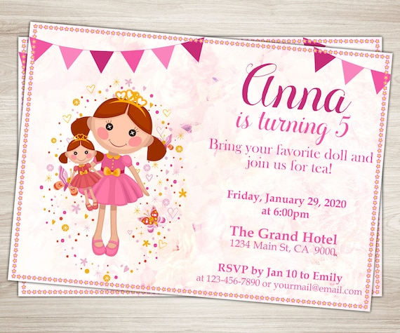 Baby Doll Party Invitation Doll Girl 3rd 5th Birthday