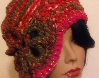 abstract free form crochet hat