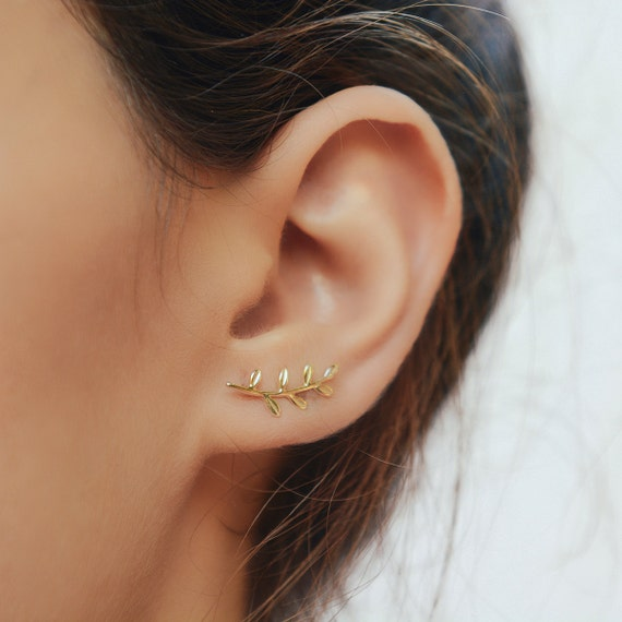 Gold Leaves Ear Climber Leaf Ear Cuff Earrings Silver Leaf