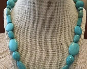 Turquoise Geometric Bead Necklace