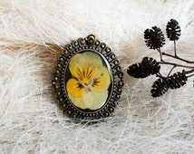OOAK jewelry trend preserved pansies resin Yellow pendant epoxy resin dried flower