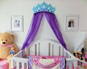 Bed Crown Canopy Nursery Wall Decor Frozen Princess With Choice Sheer Panels & Etsy :: Your place to buy and sell all things handmade