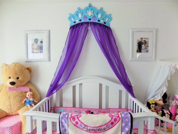 Bed crown canopy nursery wall decor frozen princess with for Nursery crown canopy