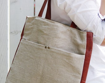 Stonewashed linen veg tan leather summer tote