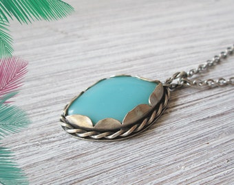 Turquoise boho necklace, bohemian pendant necklace, silver bezel, surgical steel chain