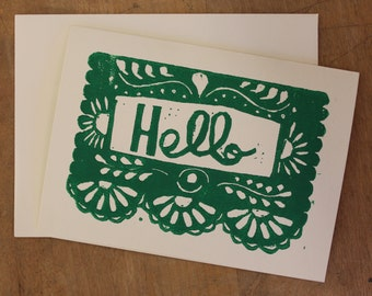 Hello Greeting Card (set of 5 handprinted cards)