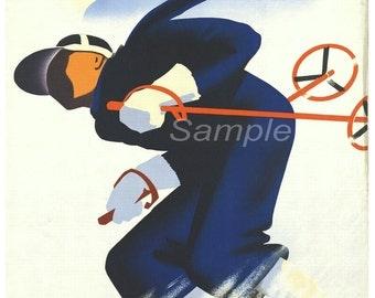 AS02 Vintage Austria Skiing Poster Print