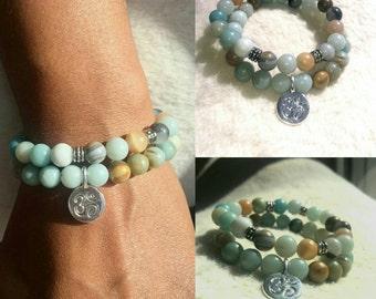 Women's 8mm Amazonite Semi Precious Bead Bracelet Set w/ Silver OM Healing Chakra Balancing Gemstones Yoga Meditation Fitness Energy