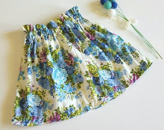 Girls Paper bag Skirt, High waisted Skirt, Paperbag, Floral Skirt, blue floral