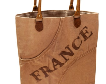 "Handbag Sustainable Canvas and Leather Tote Bag ""France"" - Beige"
