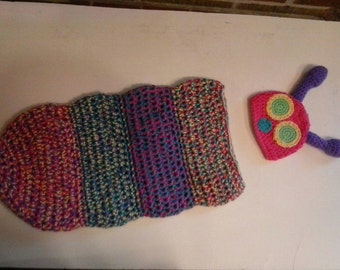 Very hungry caterpillar cocoon and hat set (spring/girl colors)