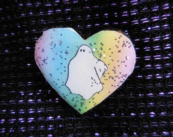Pastel Rainbow Ghostie Badge